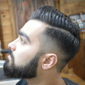 Comb Over + High Fade + Part + Beard
