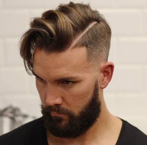 Hard Part Comb Over + Low Bald Fade + Beard