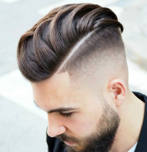 High Bald Fade with Slick Back and Beard