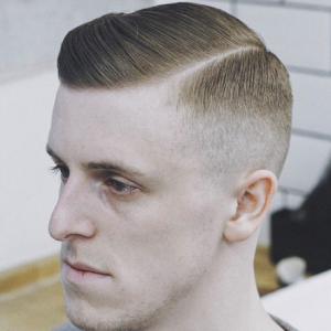 High Fade with Side Part