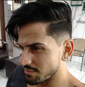 Medium Length Parted Hair with Mid Fade