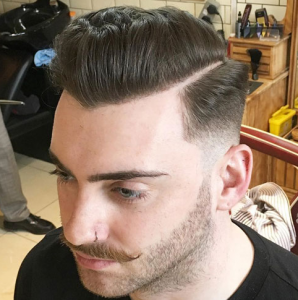 Mid Fade + Hard Part + Textured Pomp