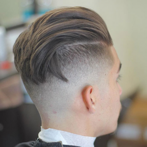 Long Fringe + Low Skin Fade + Line