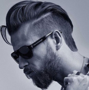 Textured Slick Back + Short Sides + Part + Thick Beard