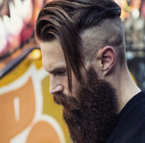 Undercut with Side Swept Hair and Beard