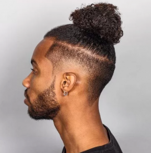 Black Man Bun with Mid Fade