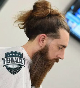 Casual Man Bun with Long Beard
