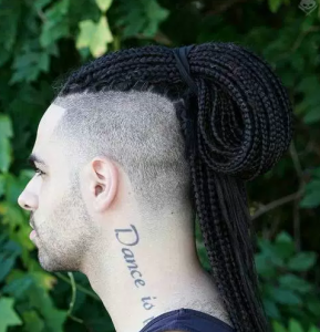 Tied Back Long Braids with Fade